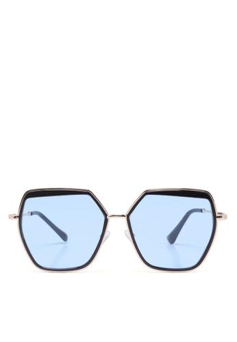 London Rag blue Sky Blue Metal Hexagon Rimmed Sunglasses B133EGLC9D0390GS_1