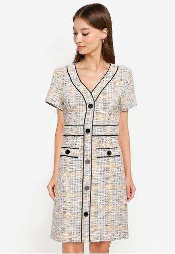 ZALORA WORK multi Contrast Piping Tweed Dress 1ED7BAAF843A68GS_1