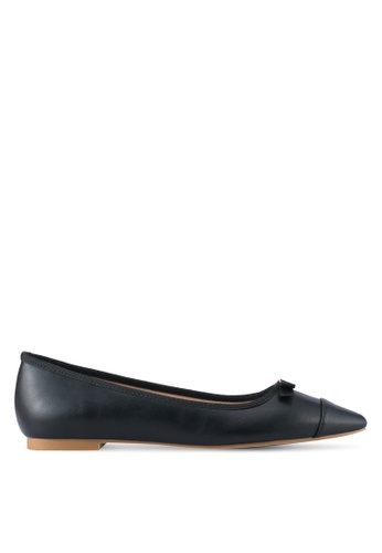 Velvet black Faux Leather Pointed Toe Flats 3D915SH956FD24GS_1