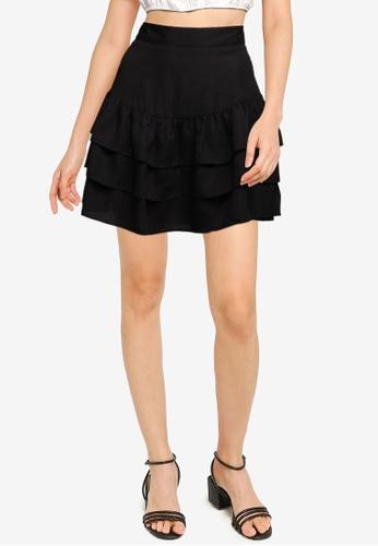 ZALORA BASICS black Tiered Mini Skirt 9CFABAAC8890D2GS_1