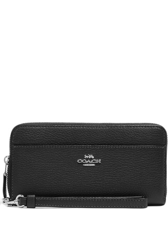 COACH black Coach Accordion Zip Wallet - Black (Silver Hardware) 8F7ACAC9D9F1D4GS_1