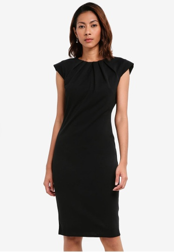 Goddiva black Pleated Neckline Cap Sleeve Midi Dress B5222AA4FD2E8DGS_1