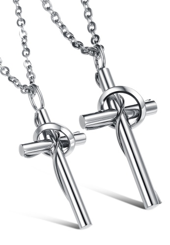 Trendyshop silver Cross Couples Pendant Necklace Set 63C84AC9F381B4GS_1