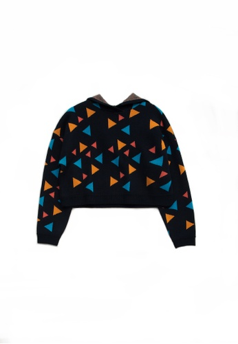 KLAPS black Multi-colors Triangle Patterned Cropped Hoodie 954E9AA3795A54GS_1