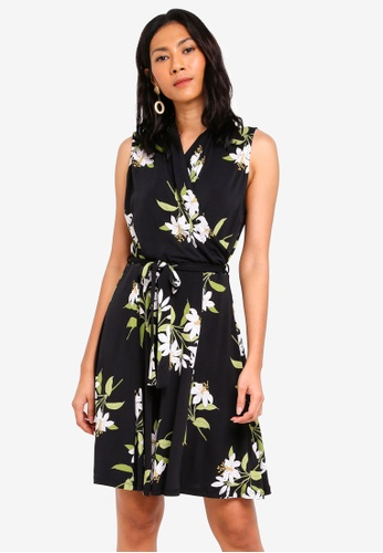 Wallis black Black Lily Print Fit And Flare Dress E39C0AA7AA7BC9GS_1