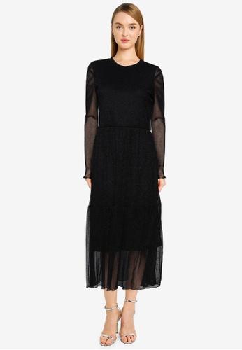 Vero Moda black Aurora Long Sleeve Glitter Mesh Dress F6D0CAA55302DEGS_1