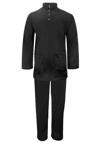 Pacolino Baju Melayu Cekak Musang with pants For Kids - BM003 (Black) BD002KA123162DGS_1