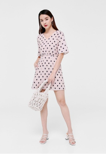 Love, Bonito pink Felicity Tie Back Dress in Scribbled Spots AD273AA66049B6GS_1