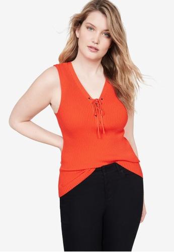 Violeta by MANGO 橘色 Plus Size Ribbed Top 02EDDAA2F4B5EAGS_1