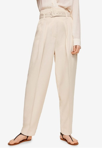 Mango white Pleat Detail Trousers 2B16EAA45DA6E1GS_1