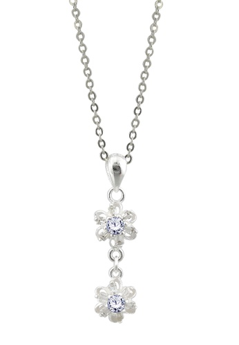 SC Tom Silver silver Double Flower Stone Pendant with Chain- TPS113 w/ Chain SC872AC54JWVPH_1