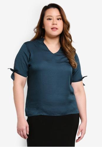 Ex'otico green Plus Size Short Sleeve Mandarin Collar Blouse 39CB5AAE8EA9B7GS_1