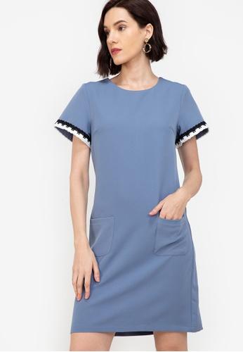 ZALORA WORK blue Trim Detail Dress 12631AA1471CEBGS_1