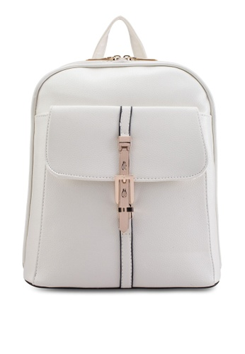 Bagstationz beige Bagstationz Pebbled Texture Backpack With Metal Lock BA607AC07KIIMY_1
