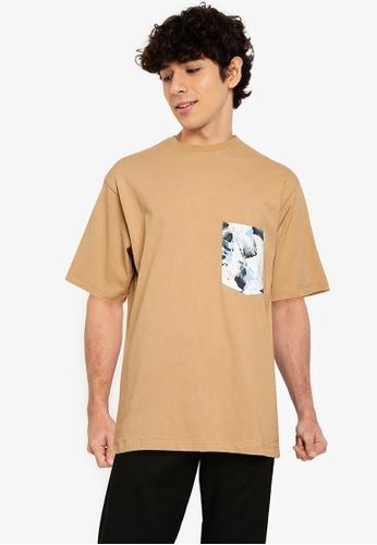 RAGEBLUE beige Printed Pocket T-shirt 885ECAAFD78453GS_1