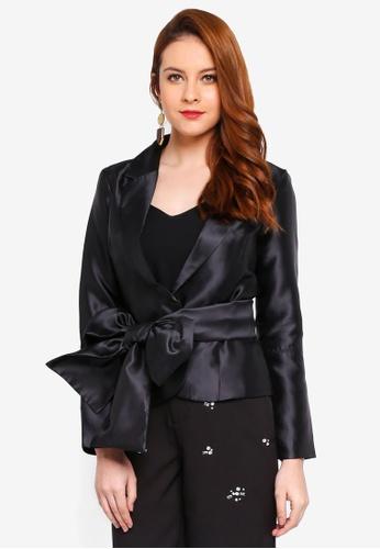 Lubna black Ribbon Tie Jacket 5F7A2AA5E2BD28GS_1