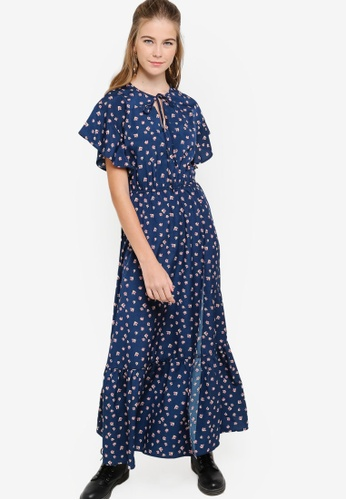 Something Borrowed navy Flutter Sleeves Wrap Maxi Dress 9B806AA9602211GS_1