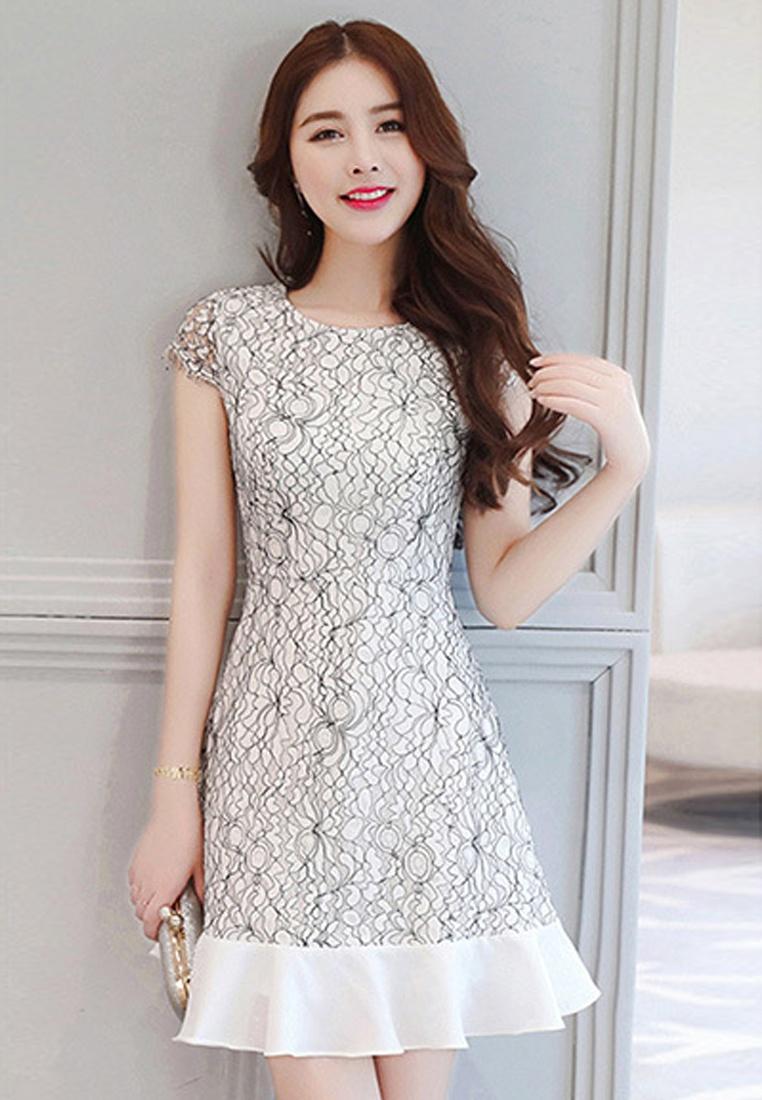 Piece Sunnydaysweety New Dress Multi A061215 2018 Short sleeves One aIdd0wq