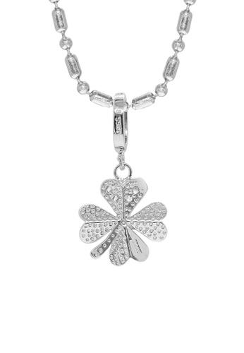Elfi 925 Sterling Silver With 18K White Gold Plating Clover Leaf Necklace  Pendant SP104