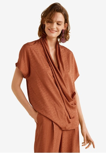 Mango brown Draped Blouse 9006AAAD12E8A7GS_1