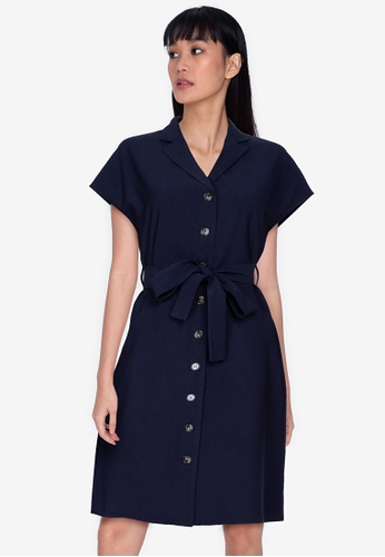 ZALORA BASICS 海軍藍色 Belted Linen Dress 50C01AA9E10ECBGS_1