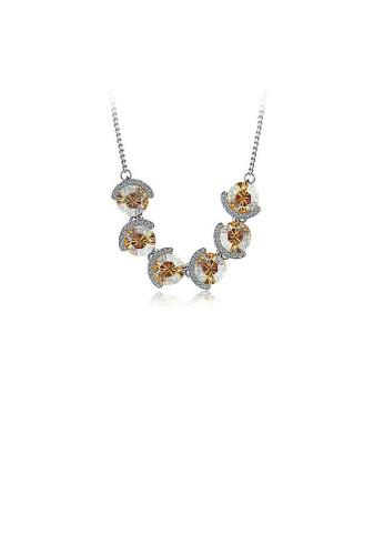Glamorousky silver Elegant Champagne Gold Crystal Necklace (40cm) B0B5DAC3E76210GS_1