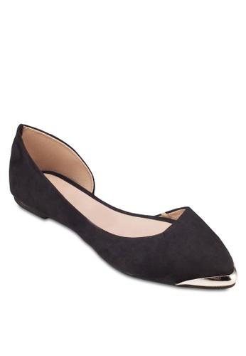 Polly 金飾側鏤空尖頭平底鞋, zalora 泳衣女鞋, 鞋