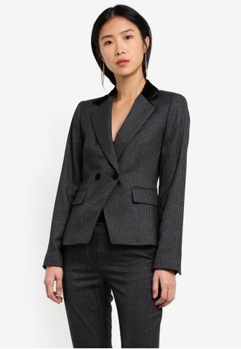 Mango grey Lapels Houndstooth Suit Blazer MA193AA0RW09MY_1