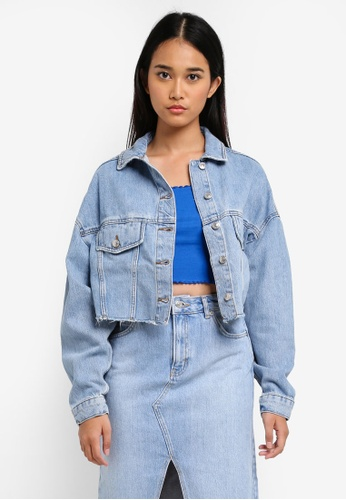 TOPSHOP blue Moto Hacked Off Crop Denim Jacket CCE2AAAE67FF66GS_1
