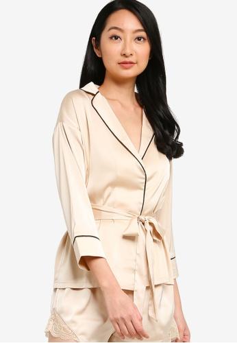 ZALORA BASICS black and beige Lounge Kimono Pyjama Top 0995AAA0C970FFGS_1