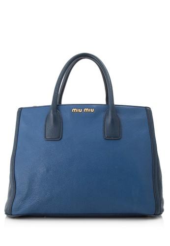 MIU MIU multi Pre-Owned Miu Miu Madras Bicolore Shopping Tote 4AE28ACE7698DCGS_1