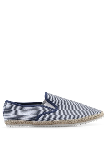 Topman 白色 條紋印花懶人鞋 6F96FSH2D583F1GS_1