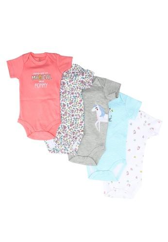 Milliot & Co. multi Adam Girls Newborn Bodysuit 5-Pack 85C6CKAD9681A2GS_1