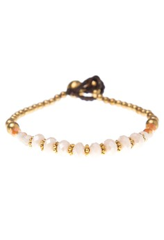 Faceted Crystals & Brass Charm Toggle Bracelet