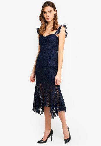 Forever New navy Rosa Lace Hanky Hem Dress C6A08AA76F1B21GS_1