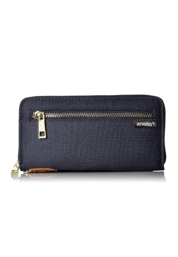 Anello [ANERO]Official Poly Canvas Simple-style Long Wallet AT-B0199-NV Navy 71C34AC0EB14F6GS_1