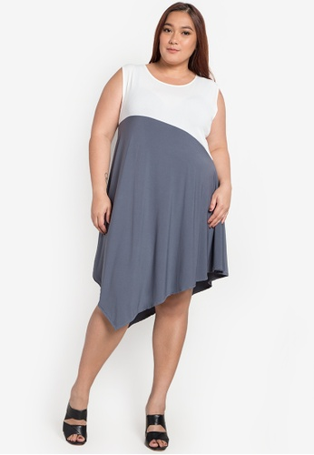 Ashley Collection Plus multi Plus Size Angela Asymmetric Dress AS083AA0K4HWPH_1