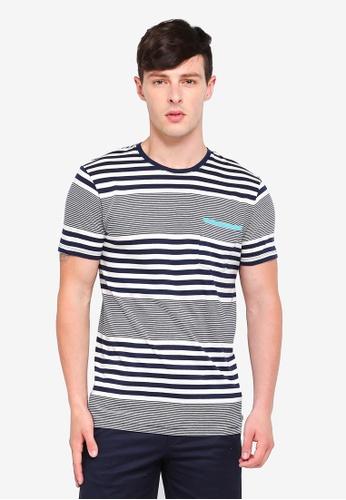 ESPRIT 海軍藍色 短袖條紋T恤 05563AA5BF0E1BGS_1