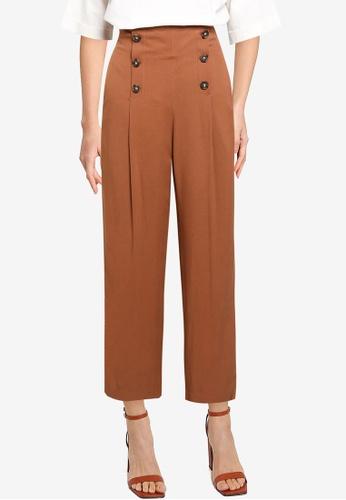 GLOBAL WORK brown Button Detail Pants B4F3CAA36B928EGS_1