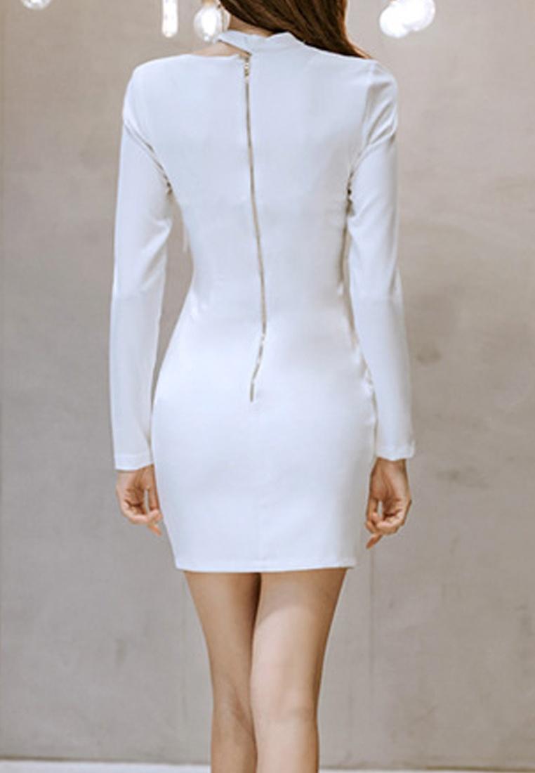 CA01106 White 2018 One Neckline Dress Asymmetrical White New Piece Sunnydaysweety Bqn47q0