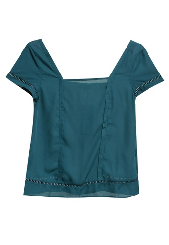 ZALORA green Square Neck Trim Top F637EAA8CF26F2GS_1