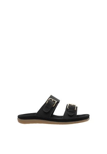 SEMBONIA black Women Synthetic Leather Flat Sandal BFA25SHD22C16FGS_1