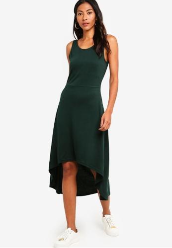 ZALORA BASICS green Basic High Low Jersey Dress 3E2B2AA04A1F58GS_1