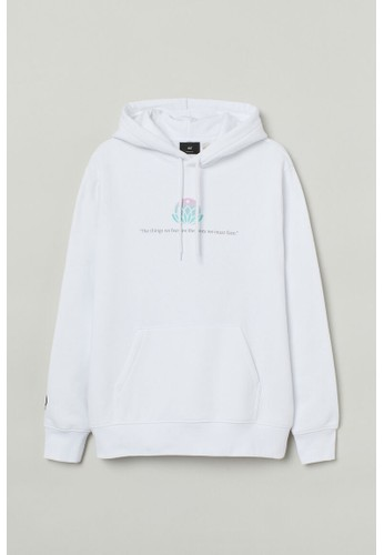 H&M white Regular Fit Hoodie 56A71AA5597F74GS_1