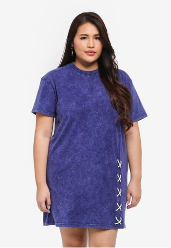 MISSGUIDED blue Plus Size Lace Up Hem Washed Tshirt Dress EB572AA78BC3ACGS_1