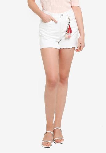 Hopeshow white Ripped Cuff Loose Cuff Denim Shorts 9D871AA3DDBE49GS_1