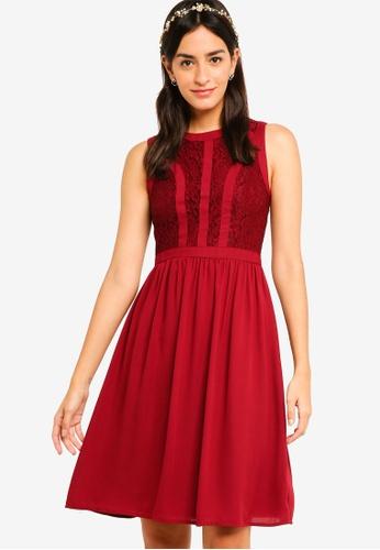 ZALORA red Bridesmaid Lace Panel Fit & Flare Dress C2B53AADAAA05EGS_1