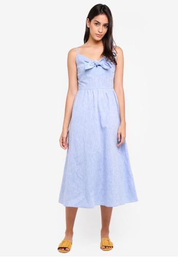 WAREHOUSE 藍色 Chambray Tie Front Midi Dress 47992AA461582AGS_1