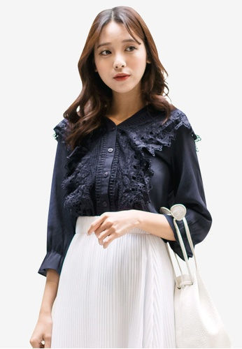 Tokichoi navy Lacy Textured Buttoned Blouse F3425AA3259292GS_1