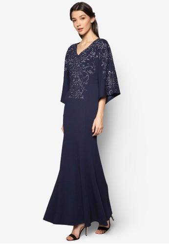 繡花寬袖美人魚長洋裝esprit服飾, 服飾, 長洋裝